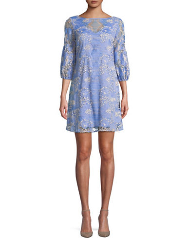 Gabby Skye Two-Tone Lace Trapeze Dress-BLUE-10