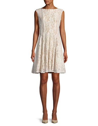 Gabby Skye Lace Sleeveless Fit-and-Flare Dress-IVORY-4