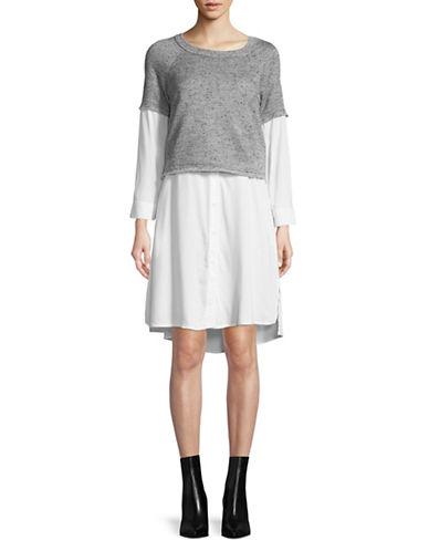 Gabby Skye Mock-Layered Long-Sleeve Dress-GREY-Medium