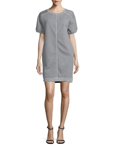 Gabby Skye Dotted-Knit Jacquard Shift Dress-GREY-Medium