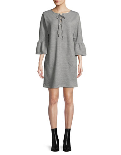Gabby Skye Bell-Sleeve Shift Dress-GREY-Small