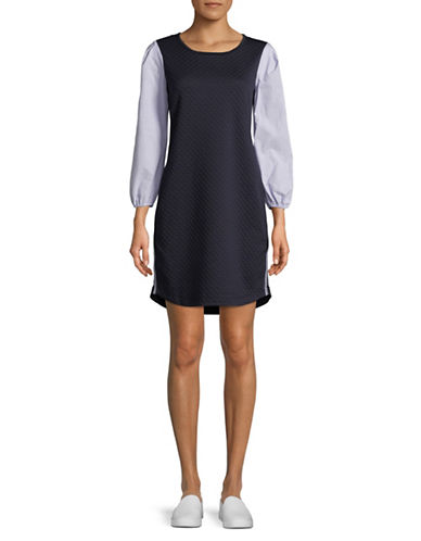 Gabby Skye Three-Quarter Sleeve Dress-NAVY-Small