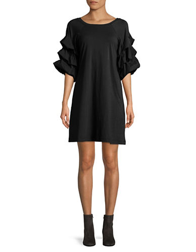 Gabby Skye Tiered Sleeve Cotton Dress-BLACK-Large