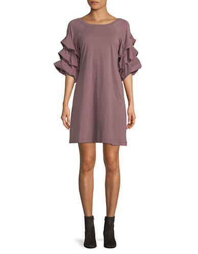 Gabby Skye Tiered Sleeve Cotton Dress-MAUVE-Small