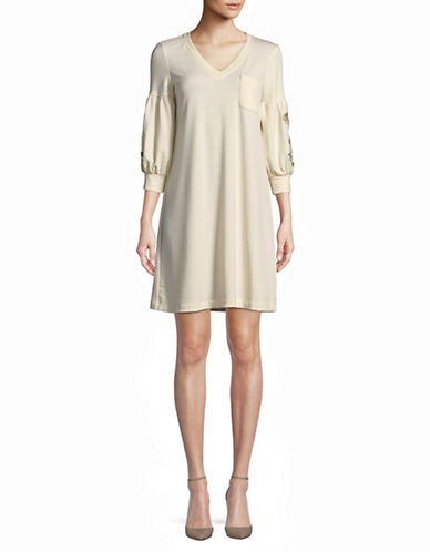 Gabby Skye Embroidered Balloon-Sleeve Shift Dress-OATMEAL-Medium