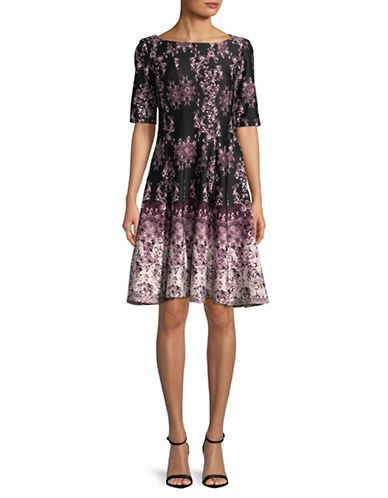 Gabby Skye Ombre Paisley A-Line Dress-BLACK MULTI-4