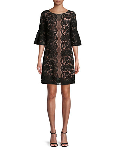 Gabby Skye Bell-Sleeve Floral Lace Trapeze Dress-BLACK-8