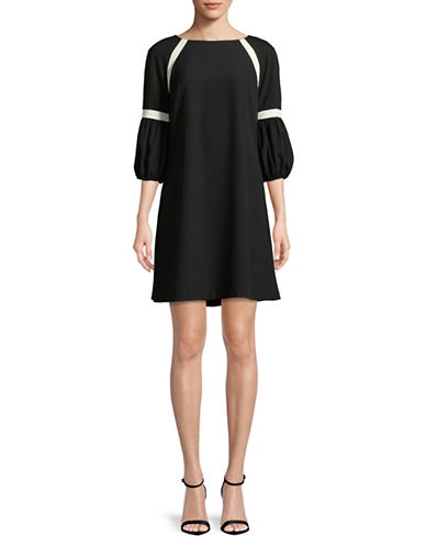 Gabby Skye Balloon Sleeve Shift Dress-BLACK-16