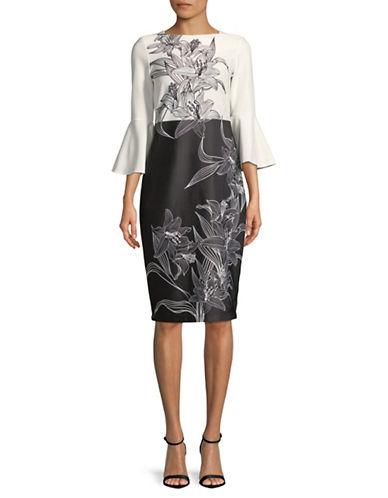 Gabby Skye Bell Sleeve Printed Scuba Midi Dress-BEIGE-8