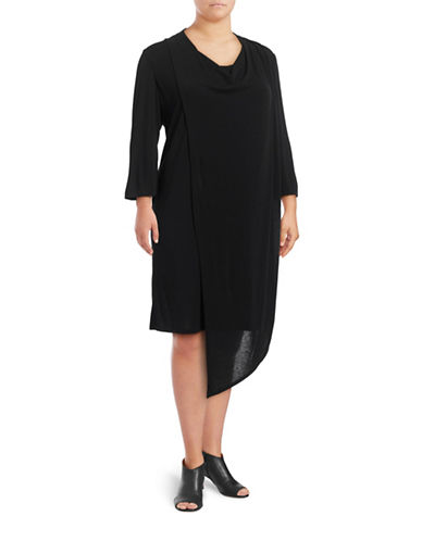 Gabby Skye Asymmetrical Drape Dress-BLACK-3X