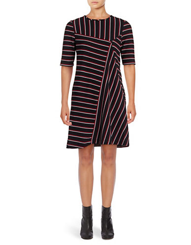 Gabby Skye Striped T-Shirt Dress-BLACK/RED-6