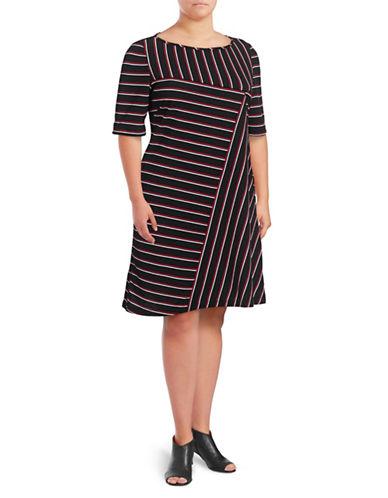 Gabby Skye Striped Knit A-Line Dress-BLACK/RED-16W
