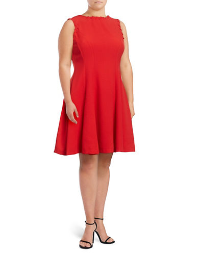 Gabby Skye Sleeveless Laced Fit-and-Flare Dress-RED-14W