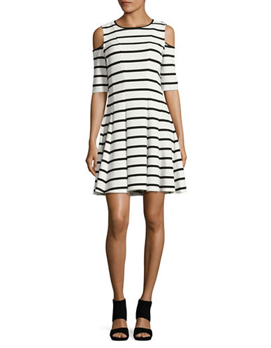 Gabby Skye Cold-Shoulder Striped Fit-and-Flare Dress-MULTI-16