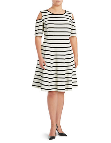 Gabby Skye Cold-Shoulder Striped Fit-and-Flare Dress-BLACK-16W