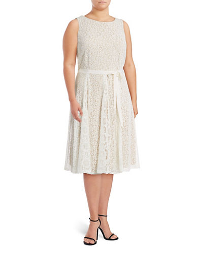 Gabby Skye Floral Lace Fit-and-Flare Dress-WHITE-14W