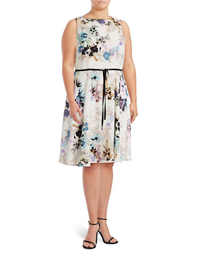 Gabby Skye Flowing Floral Fit-And-Flare Dress-MULTI-14W