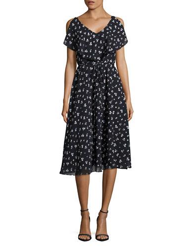 Gabby Skye Printed Ruffled Sleeveless Midi Dress-NAVY/IVORY-6