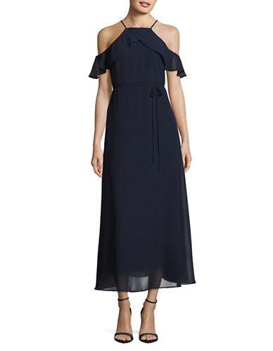 Gabby Skye Halter Ruffle Chiffon Gown-BLUE-12