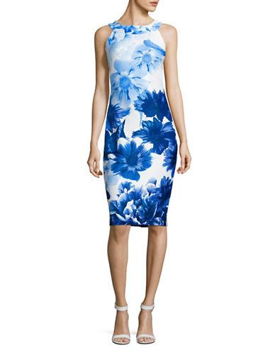 Gabby Skye Floral Scuba Sheath Dress-BLUE MULTI-10