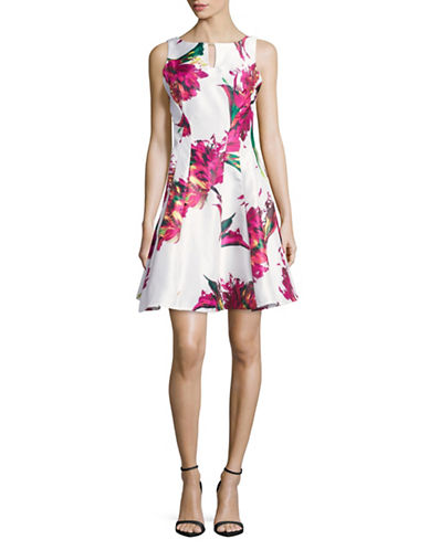 Gabby Skye Floral Keyhole Fit-and-Flare Dress-IVORY/FUCHSIA-16
