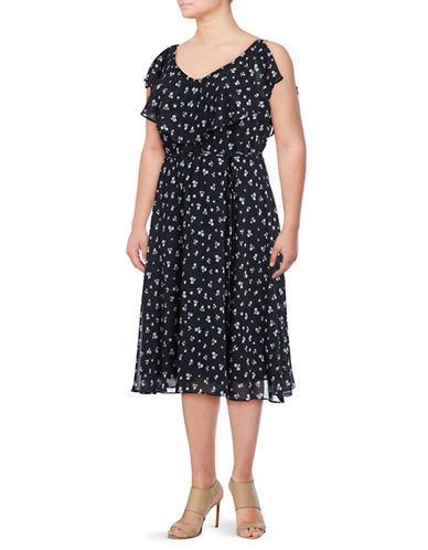 Gabby Skye Ruffled Self-Tie Cut-Out Flare Dress-NAVY/IVORY-14W
