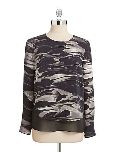 Dknyc Liquid Print Crinkle Layer Blouse-BLACK-X-Large