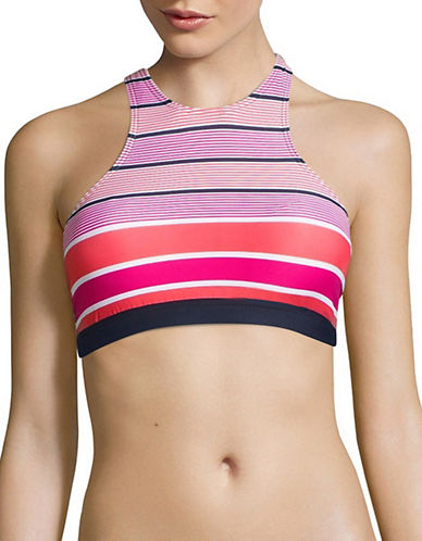 Michael Michael Kors High Neck Striped Strappy Back Bikini Top-ELECTRIC PINK-Medium