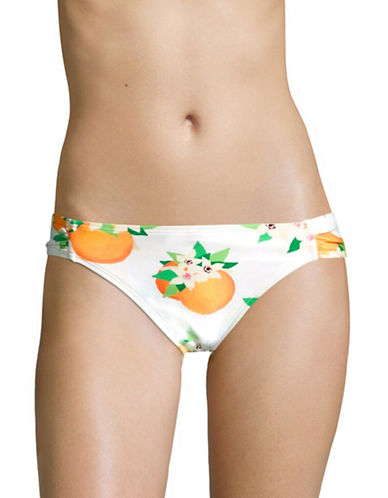 Kate Spade New York Oranges Print Ruched Swim Briefs-WHITE-X-Small