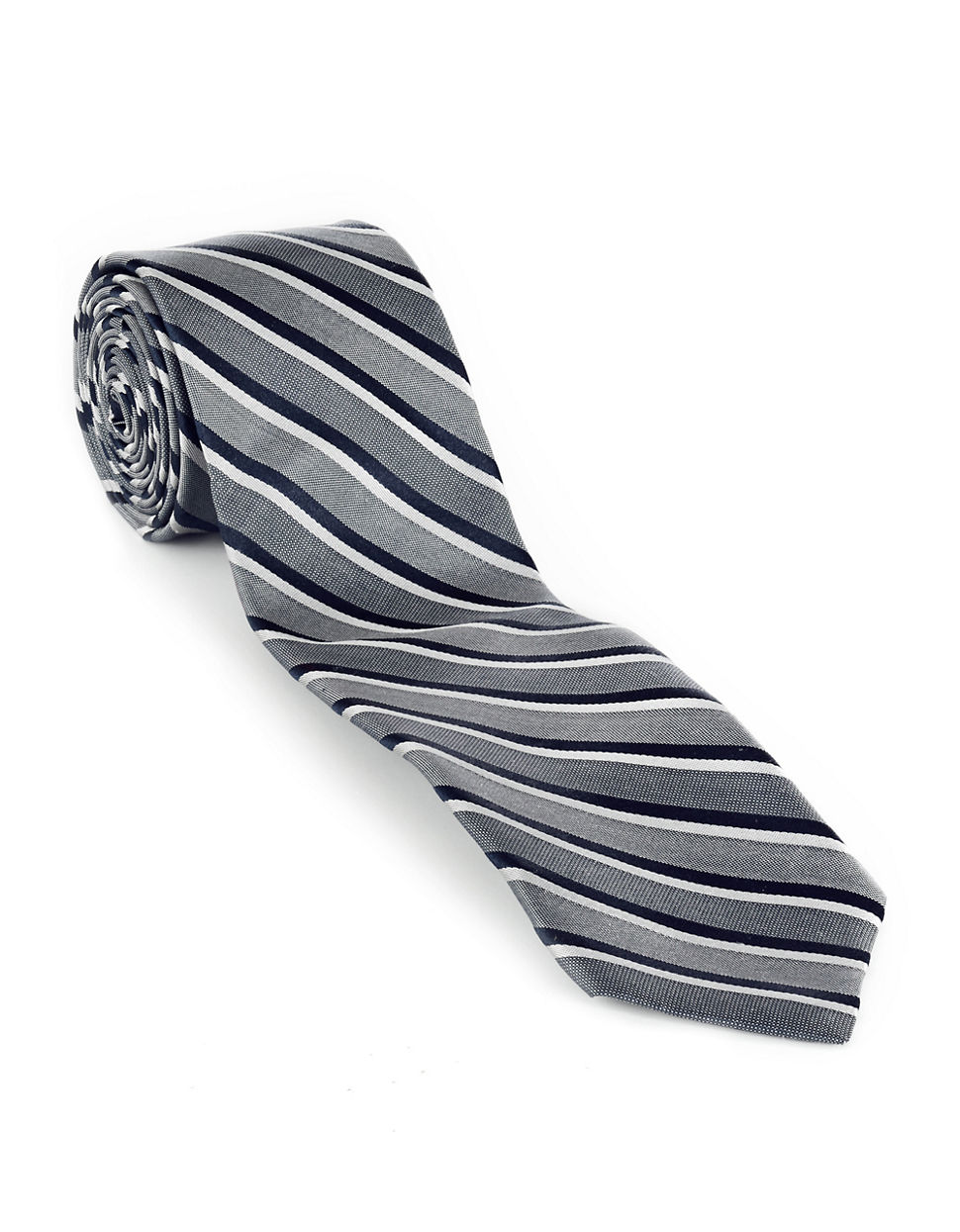 Striped Slim Tie charcoal One Size