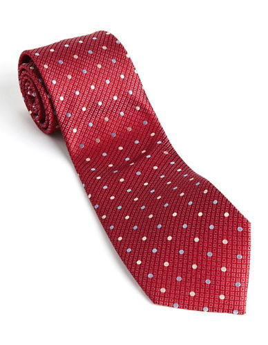Dotted Silk Tie red One Size