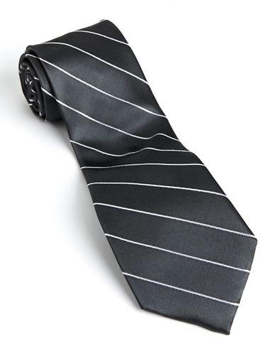 Pinstripe Silk Tie charcoal One Size