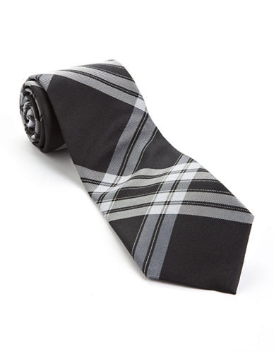 Plaid Silk Tie black One Size