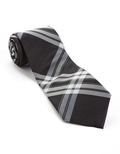 Plaid Silk Tie black One Size