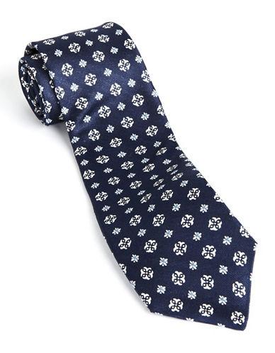 Printed Silk Tie navy One Size