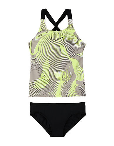 Nike Girl's Geo Aftershock Prism Two-Piece Crossback Tankini Top and Panty Set 90423887