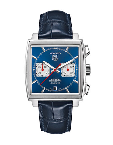 Tag Heuer Mens Monaco Alligator Strap Blue Dial Watch CAW2111FC618-BLUE-One Size