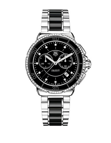 Tag Heuer Chronograph Formula 1 Lady Diamond Ceramic and Steel Bracelet Watch-BLACK-One Size
