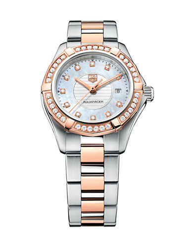 Tag Heuer Ladies Two-Tone Aquaracer Watch with Diamond-Encrusted Bezel WAP1452BD083-TWO TONE-One Size