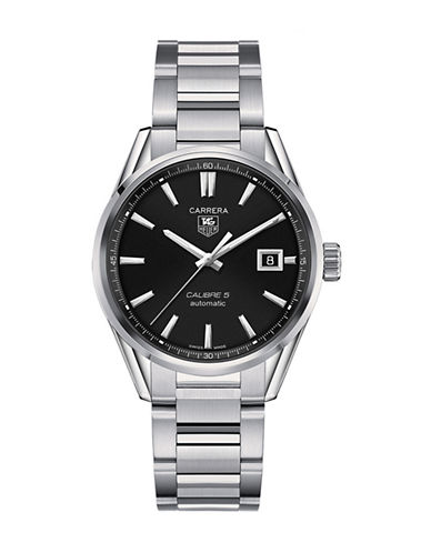 Tag Heuer Mens Carrera Stainless Steel Calibre 5 Watch WAR211ABA078-SILVER-One Size