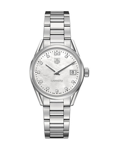 Tag Heuer Ladies Carrera Stainless Steel Watch with Diamond Markers WAR1314BA077-SILVER-One Size