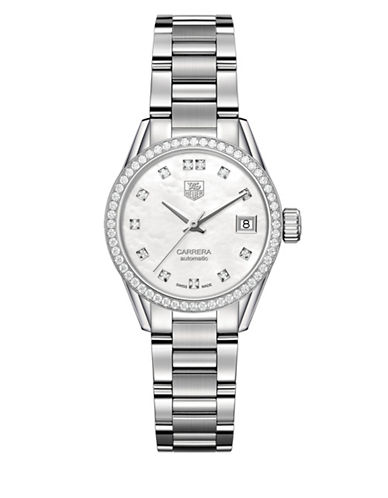 Tag Heuer Carrera Lady Mother-of-Pearl Diamond Accent Watch-SILVER-One Size