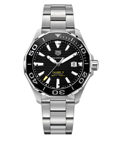 Tag Heuer Aquaracer Automatic Silvertone Black Bracelet Watch-SILVER-One Size