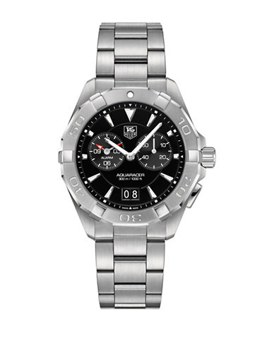 Tag Heuer Chronograph Aquaracer Stainless Steel Bracelet Watch-BLACK-One Size