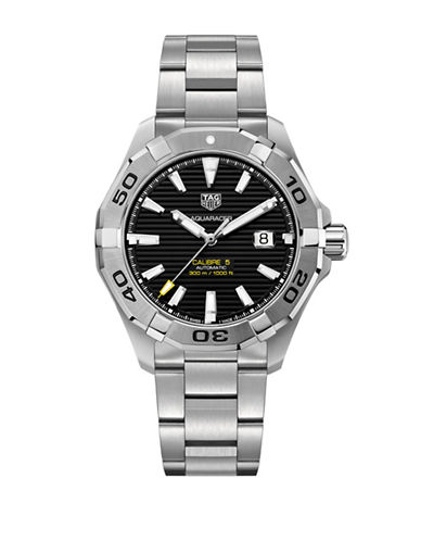 Tag Heuer Analog Cal 5 Stainless Steel Bracelet Watch-SILVER-One Size