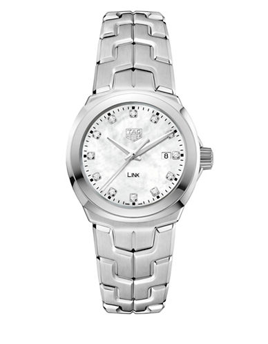 Tag Heuer Link Lady 0.116 CT Diamonds and Stainless Steel Watch-WHITE-One Size