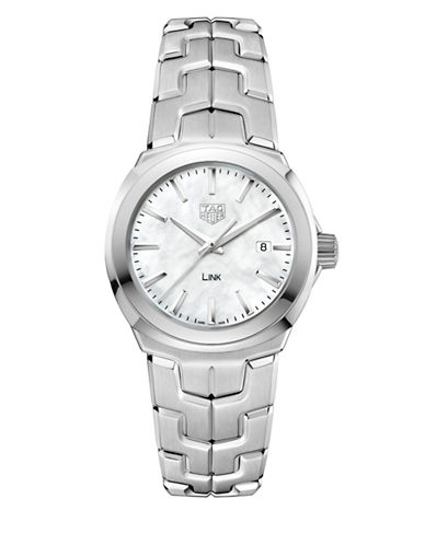 Tag Heuer Link Lady Mother-of-Pearl and Stainless Steel Watch-WHITE-One Size