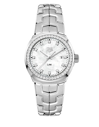 Tag Heuer Link Lady Diamond and Stainless Steel Watch-WHITE-One Size