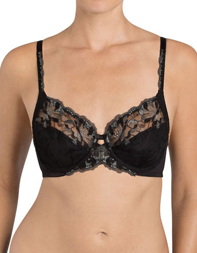 Triumph Modern Bloom Underwire Bra-BLACK-34D