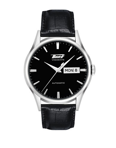 Tissot Automatic Heritage Visodate Stainless Steel  Leather Strap Watch-BLACK-One Size